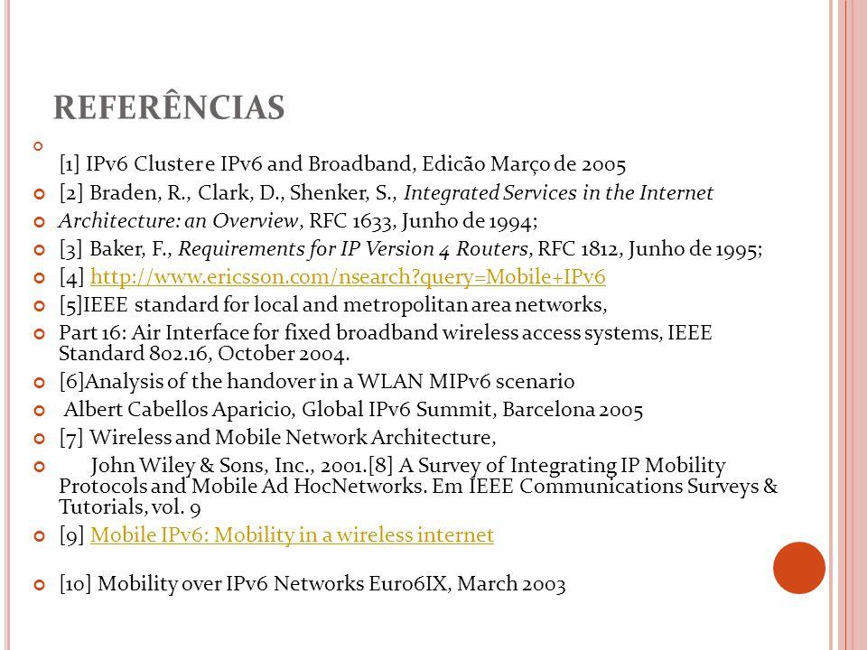 referências [1] IPv6 Cluster e IPv6 and Broadband, Edicão Março de 2005. [2] Braden, R., Clark, D., Shenker, S., Integrated Services in the Internet.